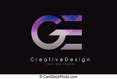 lettres, pourpre, moderne, texture, créatif, ge, vecteur, ...