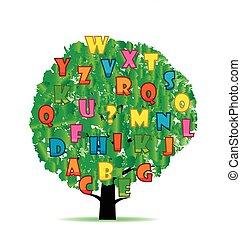 lettres, résumé, arbre, coloré