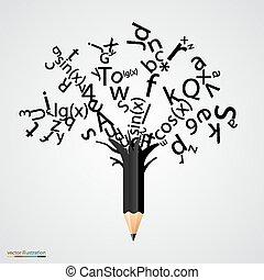 lettres, résumé, arbre, noir