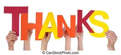 lettres, remerciement, tenant mains