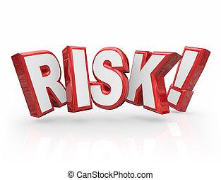 lettres, risque, danger, danger, responsabilité, potentiel, mot, 3d