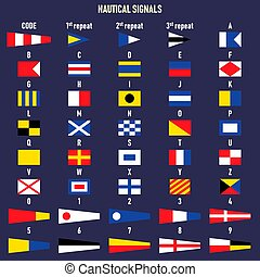 lettres, signal, maritime, numbers., international, flags.