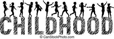 lettres, silhouettes, heureux, enfants, enfance