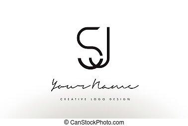 lettres, slim., simple, concept., créatif, sj, conception,...