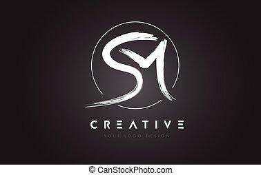 lettres, sm, concept., brosse, artistique, lettre, logo,...