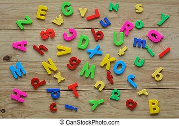 lettres, sommet bois, dispersé, poser, fond, anglaise