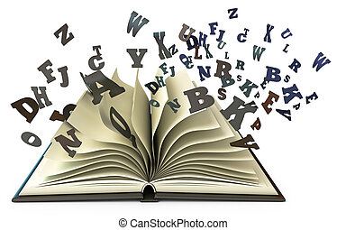 lettres, tomber, livre, ouvert