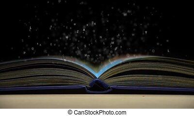 lettres, voler, dehors, de, livre ouvert
