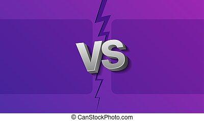 lettres, vs, deux, illustration, éclair, vecteur, ultra-violet, fond, cadres, vide