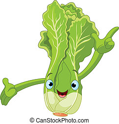 Lettuce Character Presenting Someth - Illustration of a...