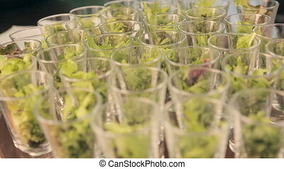 Lettuce in serving containers for catering