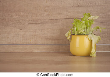 lettuce leaves in a yellow pot on the table