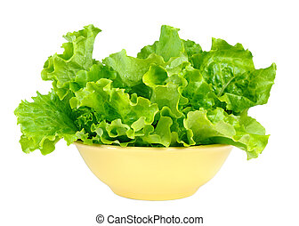 Lettuce leaves in bowl isolated on white background