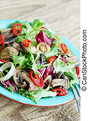 lettuce with fried mushrooms