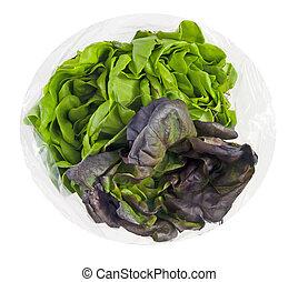 lettuces, fris, organisch, zak