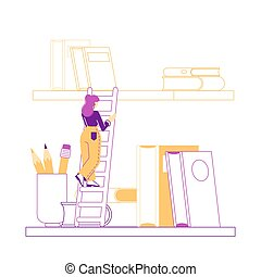 lettura, books., studente, scala, letteratura, carattere, ateneo, femmina, ragazza, lineare, tempo, illustrazione, scaffale, storage., donna, piccolo, stanza, vettore, ricerca, giovane, spendere, biblioteca