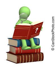 lettura, burattino, dizionario