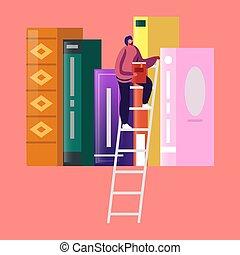 lettura, carattere, donna, illustrazione, spendere, ateneo, stanza, vettore, scaffale, tempo, cartone animato, storage., books., giovane, letteratura, studente, piccolo, femmina, biblioteca, scala, ricerca, ragazza