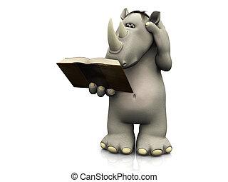 lettura, cartone animato, book., rinoceronte