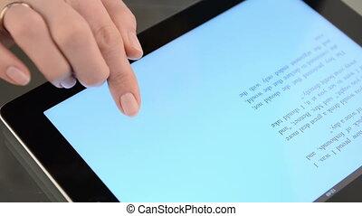 lettura, di, e-libro, su, il, tavoletta, computer