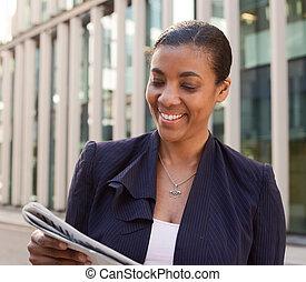 lettura donna, affari, giornale.