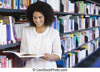 lettura donna, biblioteca