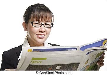 lettura, donna, giornale, affari