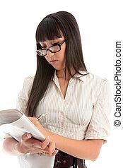 lettura donna, giornale, affari