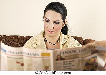 lettura donna, giornale, giovane