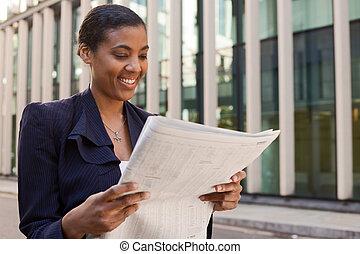 lettura, donna, giovane, affari, giornale.