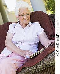 lettura, donna, libro, anziano