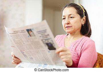 lettura, donna, serio, giornale