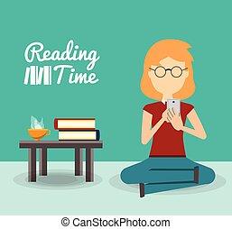lettura donna, su, uno, telefono mobile
