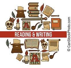 lettura, e, scrittura, promozionale, manifesto, con, antico,...