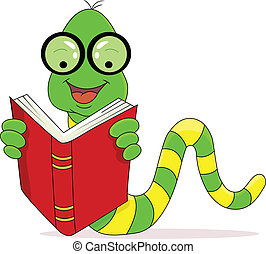 lettura, felice, libro, verme