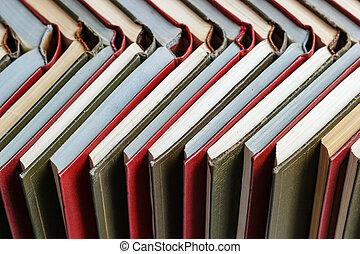 lettura, legno, accatastare, libri, colorato, tavola., concetto, abitudini