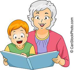 lettura, lei, nipote, nonna