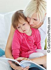 lettura, madre, libro, figlia