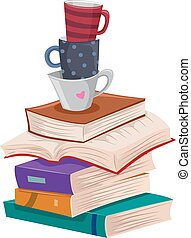 lettura, ozio, libri, lungo, campanelle, pila