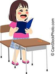 lettura ragazza, asiatico