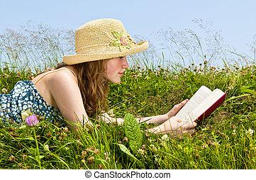 lettura, ragazza, libro, prato, giovane