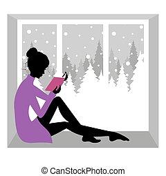 lettura, ragazza, libro