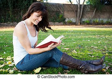 lettura ragazza, parco, giovane, carino