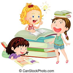 lettura, ragazze, libro