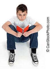 lettura ragazzo, quaderno, seduta