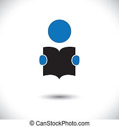 lettura studente, uno, libro, icona, con, suo, mani, presa a...