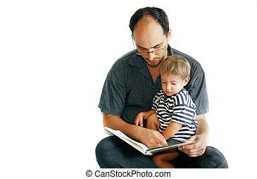 lettura, suo, padre, libro, figlio