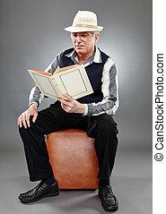 lettura, vecchio, libro, uomo