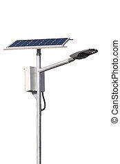 leuchtdiode, hintergrund, zelle, straße lampen, sonnenkollektoren, pfahl, weißes