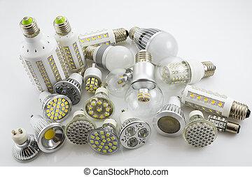 leuchtdiode, lampen, gu10, und, e27, mit, a, verschieden,...